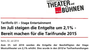 Stage Entertainment, Tarifinformation 1/2014 | ver.di Fachgruppe Theater+Bühnen